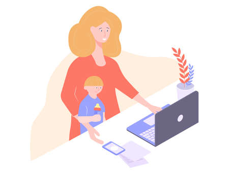 Mom blonde works for a laptop.