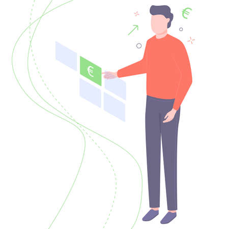 Man chooses a currency. Illustration for banks and financial institutions.