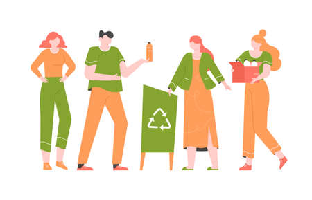 Group of young people sort the trash. Zero waste, a conscious lifestyle, caring for the planet and recycling. Bright colorful vector flat illustration with characters. Иллюстрация