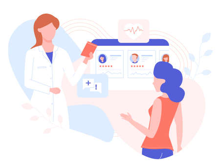 Selection of the attending physician, online consultation on diseases. Woman doctor and girl patient. Vector illustration in pastel colors.