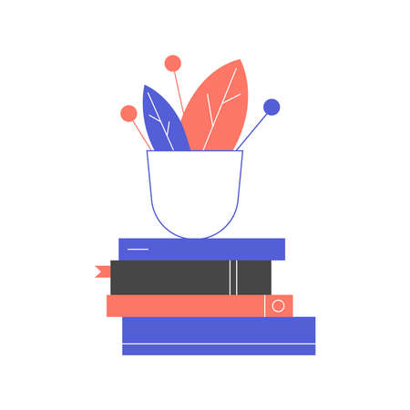 A pot of flower on a pile of books. Ilustracja