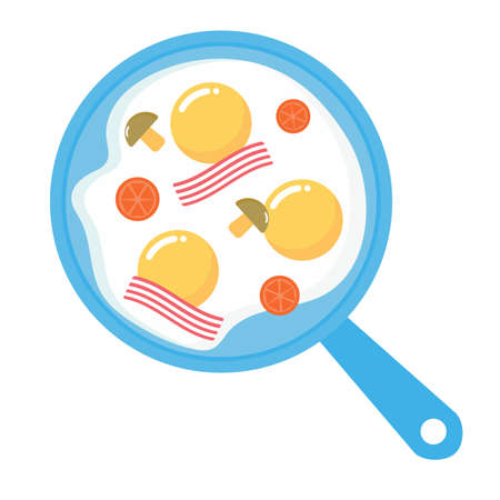 Pan with fried eggs, bacon, tomatoes and mushrooms. Breakfast. Vector cartoon illustration. Vettoriali