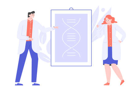 Male and female doctors scientists next to a DNA spiral. Genetics and medicine. Research and testing. Vector flat illustration.