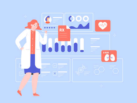 Female doctor scientist with a medical dashboard. Diagnosis of diseases, medical tests, effective treatment. Dashboard with patient health information. Vector flat illustration. Illustration