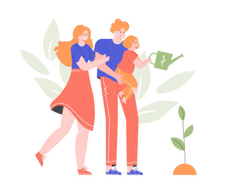 Family is gardening. Joyful mom and dad. Daughter watering a tree sprout. Vector flat illustration with characters.