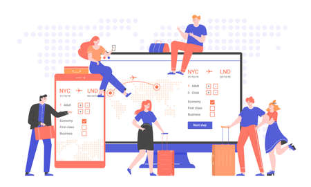 Concept illustration of an online airline ticket service. Group of people with suitcases and bags next to a computer monitor and a smartphone. Travel and business trips. Trendy vector flat.