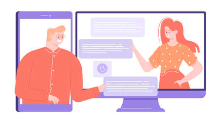 A man and a woman use an online messenger to communicate, meeting, discuss business. Cross-platform mobile and web service. Bright colorful vector flat illustration.