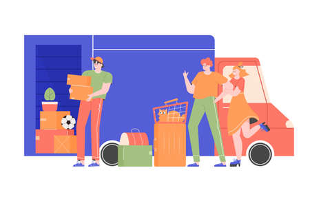 Happy family with a cat and bags near the truck with things. A loader employee of a transport company loads boxes with stuff to the car. Moving to a new apartment, house. Vector flat illustration.