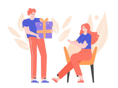 Cute friendly guy gives a big gift box to his girlfriend. A girl sits on an armchair and takes a present. International Womens Day. Vector flat illustration. Stock Illustratie