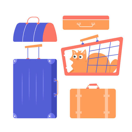 Suitcases, bags, carrying with a cat. Travel and relocation. Vector flat set isolated on white background. Vettoriali