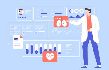 Male doctor scientist with a medical dashboard. Diagnosis of diseases, medical tests, effective treatment. Dashboard with patient health information. Vector flat illustration.