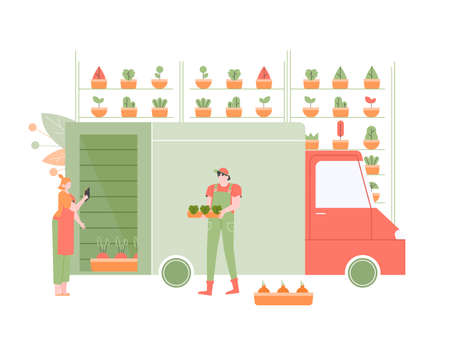 Distribution of fresh vegetables and herbs to supermarkets. Supervisor and loader next to the truck. Loading a machine to deliver goods. Shelves with plants, food warehouse. Vector flat illustration.