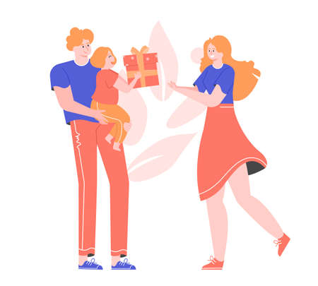 Mothers Day. Father with a daughter in his arms. Little cute girl gives her beloved mom a gift box. Family together. Caring for loved ones, birthday, holiday party. Vector flat illustration.