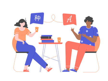 Guy and girl students learn a foreign language. Language exchange, education and courses. People of different nationalities are sitting on chairs at the table with a stack of books. Vector flat.