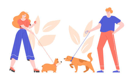Dog owners for a walk. Cute welsh corgi and big dog meet and play together. Acquaintance of pets. Vector flat illustration.