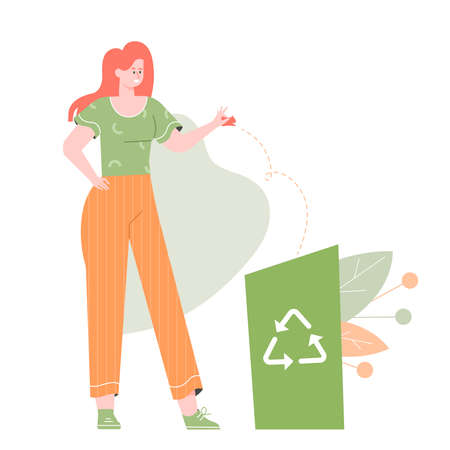 Girl stands next to the trash can. Stock Illustratie