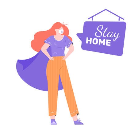 Stay home concept design. 向量圖像