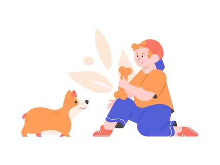 Little boy in a cap offers a bone to a dog. Cute welsh corgi. The owner and his pet. Vector flat illustration.
