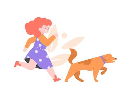 Little girl walking a dog.