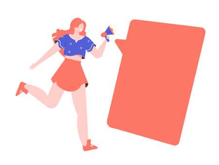 Energetic girl runs with a loudspeaker. 向量圖像