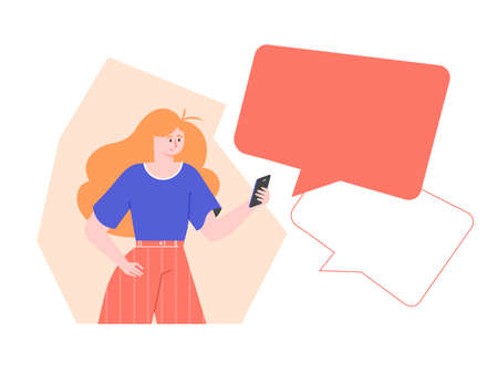Red-haired pretty girl with a smartphone.