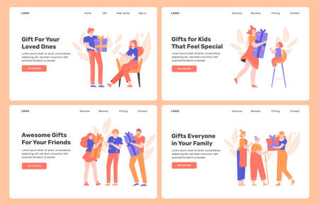 Gifts for loved ones, family, friends, relatives. People make surprises, celebrate holidays, have parties. Design concept for landing pages. Vector flat illustration with characters.  イラスト・ベクター素材