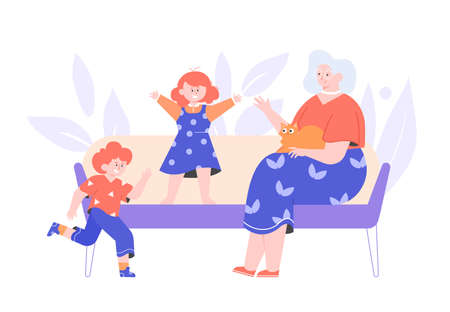 Grandmother spends time with her grandchildren.