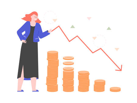Girl stands next to a chart and stacks of coins