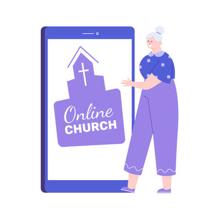 Elderly lady and mobile church online application