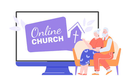 Elderly people and the online church service site Illustration