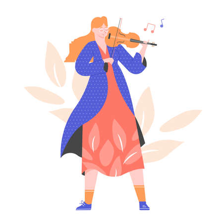 Pretty girl musician plays the violin. Violinist.