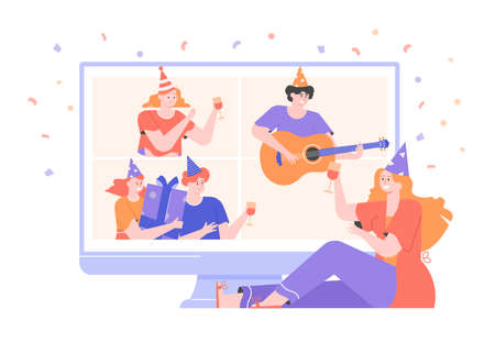 Online internet party. Birthday
