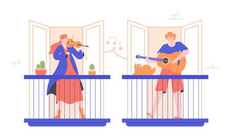 People play musical instruments on balconies. Stock Illustratie