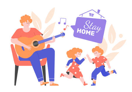 A man plays the guitar, the children dance together. Dad, daughter and son listen to music, have fun together. Family party at home. Vector flat illustration.