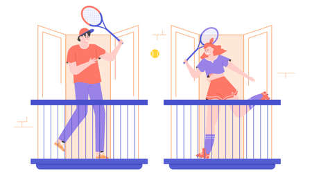 A young couple plays tennis on the balconies. Stock Illustratie
