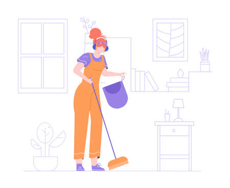 Girl in headphones and a jumpsuit with a broom.
