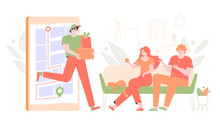 Home delivery of goods and food. Stock Illustratie