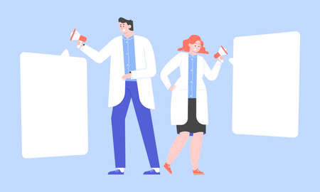 Doctors with megaphones. A man and a woman in white coats are reporting important news. Awareness of the population about diseases, health care. Vector flat illustration. Stock Illustratie