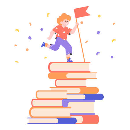 Boy schoolboy on top of a stack of books with the winner flag. Achieving goals, book challenge, education and reading. Vector flat illustration.