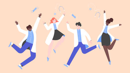 Happy multinational doctors happily jumping. Stock Illustratie