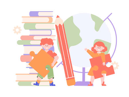 Children with puzzles. Stock Illustratie