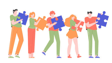 People connecting puzzle elements. Colleagues in line with their ideas, teamwork on a project, partnership and collaboration. Flat vector illustration.