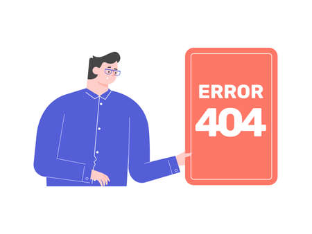 Male character holds the Error 404 sign. Stock Illustratie
