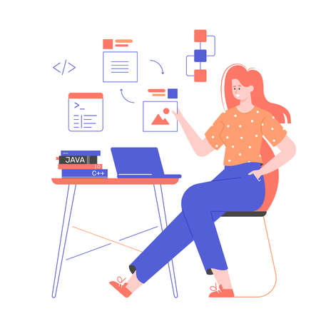 Woman programmer is sitting at a desk.