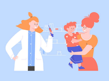 Mom and son in the hospital. Routine vaccination of children. Female doctor in a white coat with a syringe. Immunization schedule. Medical insurance. Vector flat illustration. Stockfoto