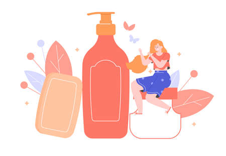 Care for the beauty and health of hair. The girl with a magnificent hairdress sits on a jar of cream. Shampoo and soap. Vector flat illustration. Stockfoto