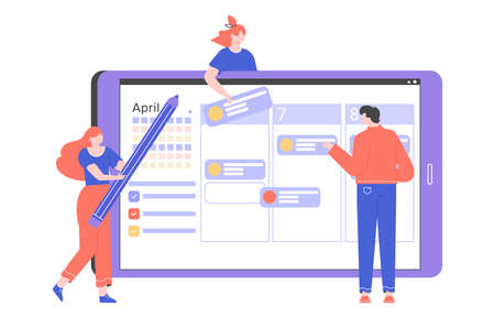 Workflow organization on the tablet. Teamwork and time management. Agile project management. Planning schedule and calendar. Vector flat illustration with characters. Stockfoto