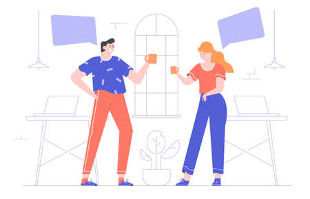 A man and a woman in the office are standing with mugs. Coffee break. Colleagues are chatting. Teamwork concept. Vector flat illustration.
