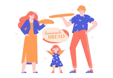 Mom, dad and little daughter baked homemade bread