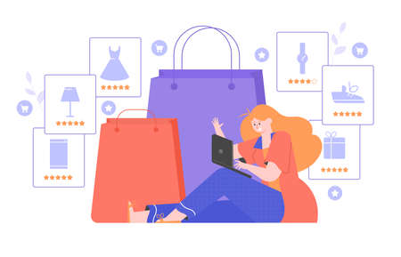 Shopping online. Girl with a laptop